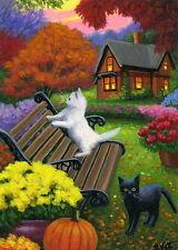 Kittens cat fall garden house bench flowers pumpkin OE aceo print art