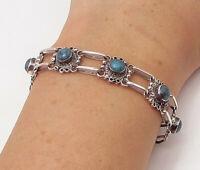 MEXICO 925 Sterling Silver - Vintage Turquoise Floral Chain Bracelet - BT1194