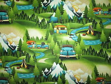 RETRO TRAILERS RV CAMPERS TRAILER TENT TRUCK GREEN COTTON FABRIC FQ