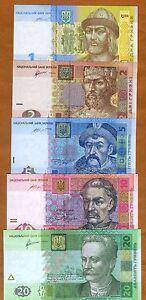 SET Ukraine, 1;2;5;10;20 Hryvnia, 2011-2015, P-116-117-118-119-120, UNC