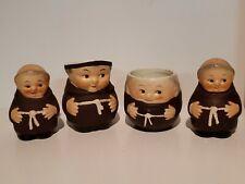 Goebel Friar Tuck Salt Pepper Cream Sugar Set Vintage Germany