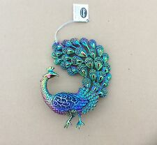 """Pack 4 Coloured 5.5"""" Peacock Christmas Decorations / Ornaments"""