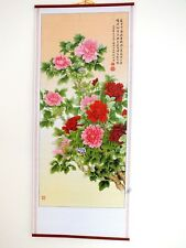 CHINESE BAMBOO FENG SHUI WALL HANGING SCROLL PICTURE PEONY FLOWER PARTY 10-10