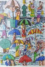 "James Rizzi ""RAIN"" 1989 Hand Signed 3-D Serigraph Pop Art framed XXL 22"" x 29"" i"