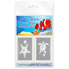 24 x UNDER THE SEA MINI GLITTER TATTOO / BODY ART MIXED STENCILS !