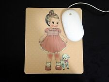 *Party Favors*Korean Afrocat Paper Doll Mate Lg HQ Thick Mouse Pad ~Yellow JULIE