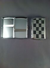 Chrome with Black & Clear Diamante Bling Cigarette Case  - King Size Design 2