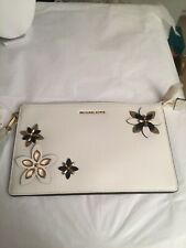 Michael Kors Optic white  Flowers Daniela leather wristlet Clutch Bag Brand new/