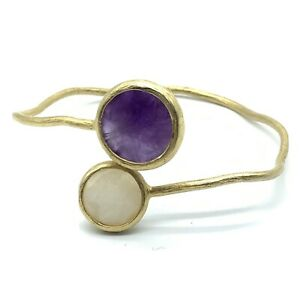 Amethyst Quartz Bangle Bracelet Matte Gold Plated Wire Faceted Stones B9