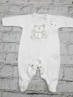 Unisex Baby's Mothercare Sleepsuit White Teddy Theme Cotton 0-3 Months