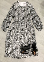 CAPSULE Animal Print Dress Fit Flare Long Sleeve Size 16 Black White Mix Flowing