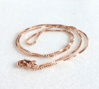 Box Chain Necklace Rose Gold Plated Length 17.7inches 45cm Wide 1mm Small UK