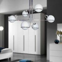 Lampadario a Sospensione moderno 6 luci cromo sfere in vetro soffiato bianche