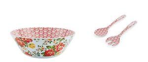 NEW Pioneer Woman 3 Piece Salad Set - Vintage Floral - Bowl, Servers, Red