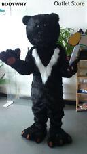 Halloween Long Fur Black Bear Mascot Costume  Fancy Cosplay Dress Outfit Fursuit