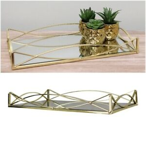 Gold Metal Mirrored Decorative Tray Trinket Jewellery Candles Display Plater UK