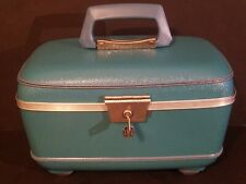 Vintage US Luggage Train Case Traincase Make-Up Carry On With Key And Mirror