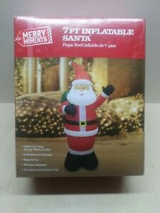 7 Foot Tall Inflatable Light-Up Santa MERRY MOMENTS *NEW OPEN BOX