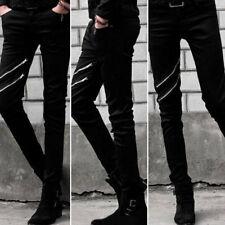 Punk Black Skinny Mens Pants Leisure Trendy Straight Denim Rock Trousers Zipper
