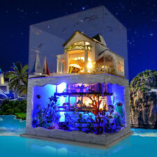 DIY LED Hawaii Villa Loft Apartments Dollhouse Miniature Wooden Furniture Kit