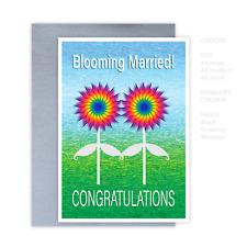 Gay Lesbian same sex wedding card, blooming married! LGBTIQ wedding card flowers