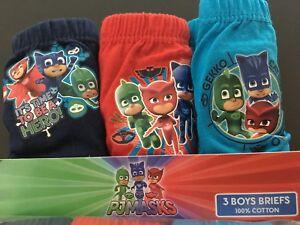 Boys Kids Children PJ Masks Briefs Pants Underwear 3 Pack Age 1.5-8 Years
