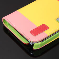 PU Leather Flip Card Wallet Case Cover Stand for Samsung Galaxy Note 2 w/ Strap