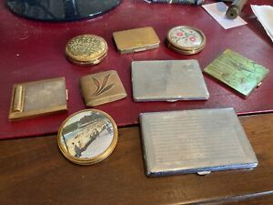 COLLECTION OF VINTAGE POWDER COMPACTS, CIGARETTE CASES, GLOMESH STRATTON FEME +