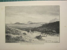 C1890 antique print ~ tunisien paysage ~ view from the Tellat pass