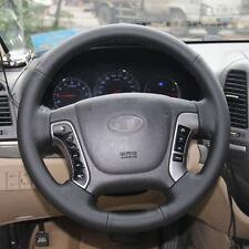 Anti Slip Black Leather Hand Sewing Steering Wheel Cover For Hyundai Senta Fe