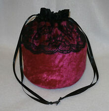 "Crushed Velvet & 3"" Lace Dolly Evening Handbag / Purse Wedding Bridesmaid Bag"