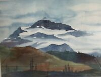 "A Beautiful Original Watercolor Painting ""Mountain High"" Landscape Signed Framed"
