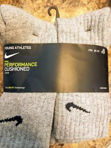 ⭐ Nike 6 PAIR CREW CUT SOCKS SIZE 5Y - 7Y Gray w Black Nike LOGO