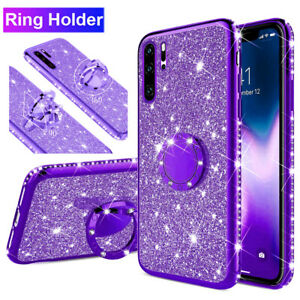 For Samsung Galaxy Note 10+ A80 Bling Diamond Glitter TPU Ring Holder Case Cover