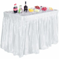 White Plastic 4' Folding Party Ice Cooler Drink Table Skirt Picnic Catering Bar