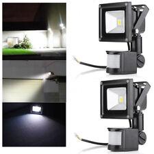 2x 10W LED Flutlicht Fluter Außen Strahler mit Bewegungsmelder Sensor IP65 Weiß