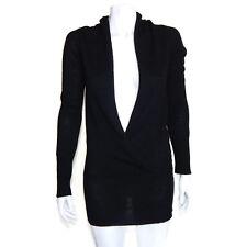 AQUA Brand Cashmere Gorgeous Black Draped Open Front Sweater Small - S /8046