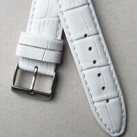 WHITE LEATHER WATCH STRAP Quality Padded Crocodile Calf 18mm 20mm Croc Grain