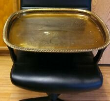 Vintage Solid Brass Tray, Extra Large Serving/Tabletop Tray, Rare, Bohemian