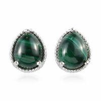 925 Sterling Silver Malachite Stud Earrings Gift Jewelry for Women Cttw 6.8