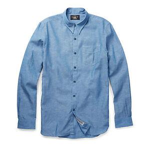 $225 Double Ralph Lauren RRL Mens Irving Denim Chambray Hemp Slim Button Shirt