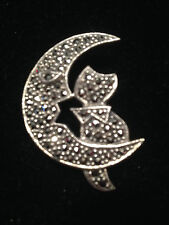 New Marcasite Cat in the Moon Sterling Silver Pin