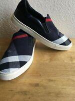 Burberry Blue Navy Euro Sz 40 US sz 7 plaid signature slip-on Sneaker Shoes