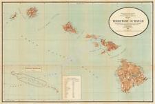 Map of Territory of Hawaii c1918 vintage 30x20