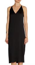 New $1490 The Row Lahel Racerback Woven Crepe Dress in Black sz M