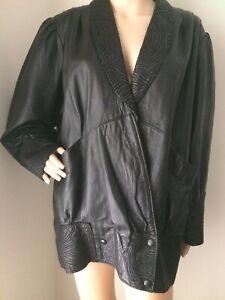 MARKS & SAULWICK Black Vintage Real Leather Loose Pattern Trim Jacket Size 14