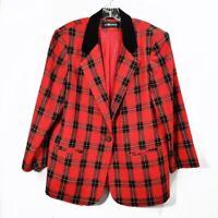 Vintage Sag Harbor Red Plaid Blazer Jacket Long Sleeve Velvet Trim Womens Size L