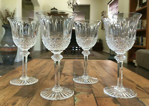 """4 Lot St Louis Crystal Tommy Continental Water Goblet Set France 7 1/8"""" Mint"""