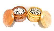Broyeur moulin epices herbe tabac grinder bois 4 parties 40 mm avec tamis