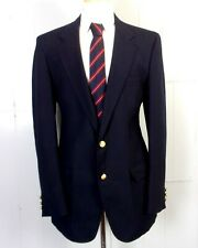 vtg Adams Row eyc Men's Navy Blue Wool Blend Blazer Sportcoat Gold Buttons 40 L